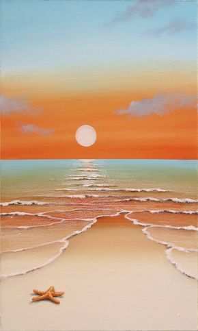 Buy sweet sunset, an Acrylic Painting on Wood, by Elena Panizza from Italy, For sale, Price is $345, Size is 19.7 x 11.8 x 0.2 in.
