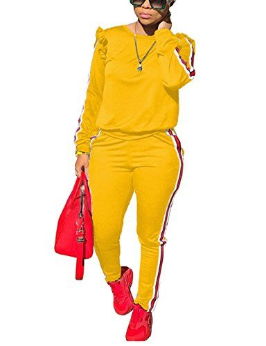 Akmipoem Womens Two Piece Outfits Ruffle Sleeve Sweatshirt and Long Pants Tracksuit
