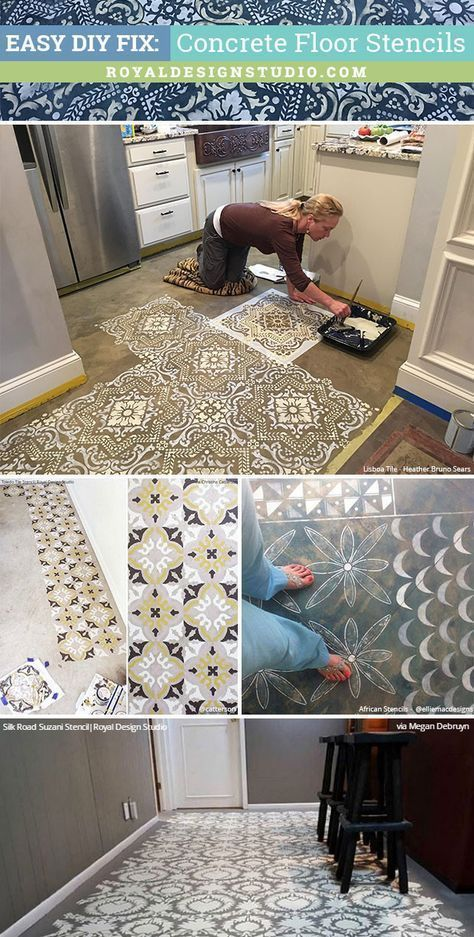 Stenciled concrete floor - great idea for a basement homemade