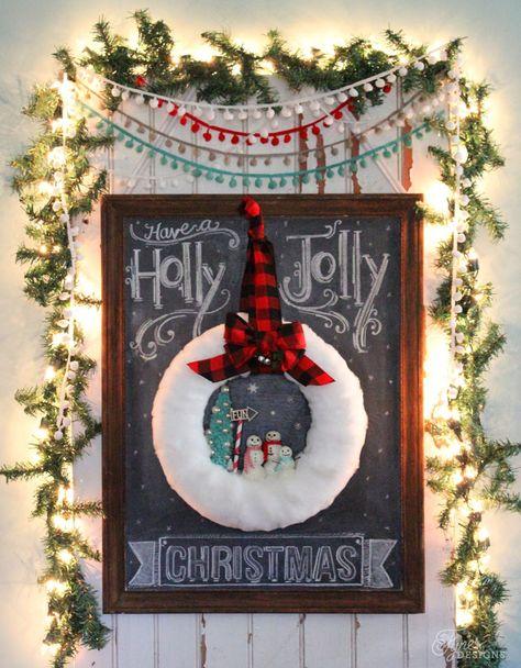 DIY Glittery snowman wreath