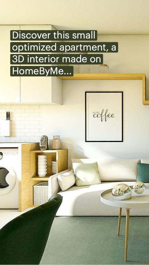 Discover this small optimized apartment, a 3D interior made on HomeByMe...