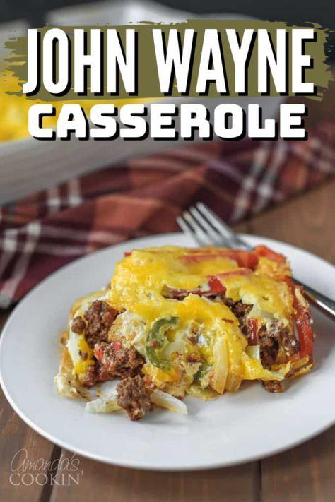 Easy Casserole Recipes, Casserole Dishes, Chicken Biscuit Casserole, Beef Casserole, Beef Dishes, Food Dishes, Main Dishes, John Wayne Casserole, One Pot Meals