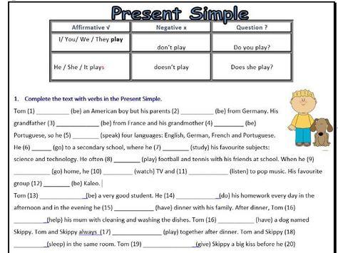 Present Simple Worksheet - ESL - Affirmative/Negative/Interrogative