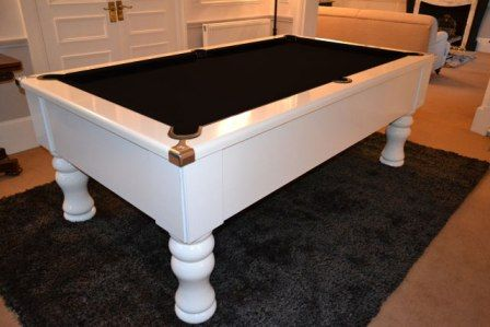 THE GEORDIE GLOSS WHITE POOL TABLE  BLACK CLOTH | Basement  Design Ideas |  Pinterest | Pool Table, Basements And House
