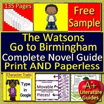 The Watsons Go To Birmingham 1963 Novel Study Unit Free Sample