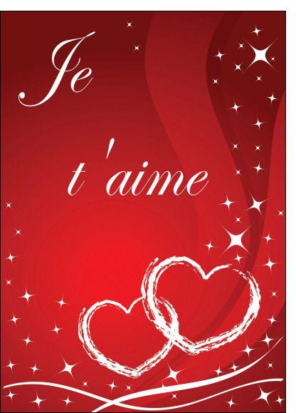 carte je t aime Merci facteur : Je t aime et coeurs rouge en 2020   Bisous coeur