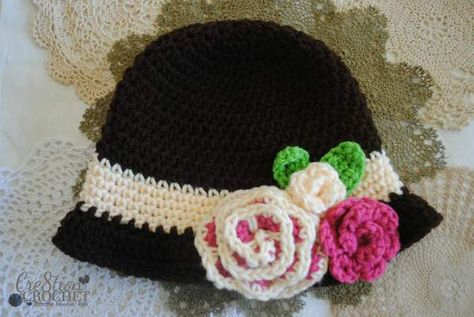 free crochet pattern Red Heart cloche #cre8tioncrochet