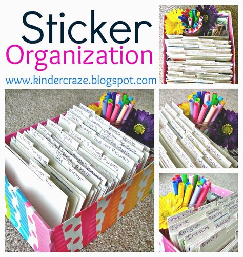 Sticker Organization - Kinder-craze - Organize stickers by season and theme in a shoebox Sticker Storage, Sticker Organization, Classroom Organisation, Teacher Organization, Project Life Organization, Organization Ideas, Folder Organization, Organizing Life, Coupon Organization