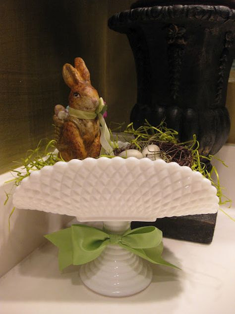 "Milk Glass for Easter ~ Mary Wald's Place - ""Here comes Peter Cottontail, Hoppin' down the bunny trail, Hippity, Hoppin' Easter's on it's way. Hoppy Easter, Easter Eggs, Easter Hunt, Easter Chick, Easter Table, Easter Crafts, Easter Decor, Easter Ideas, Easter Centerpiece"