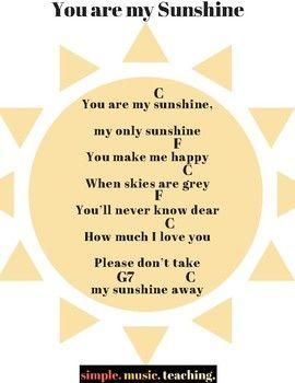 You Are My Sunshine Ukulele Chord Sheet With Images Ukulele