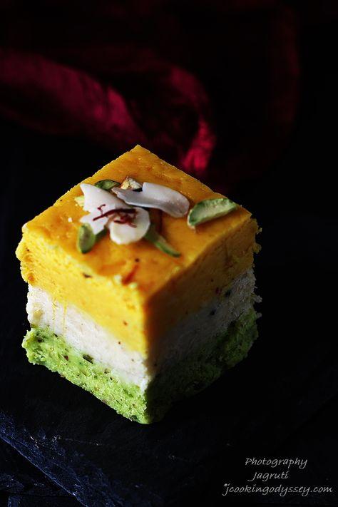 Jagruti's Cooking Odyssey: Kesar, Badam, Pista Barfi / Barfee - Saffron, Almond and Pistachio nuts creamy fudge squares #fastingfood #indianmithai #Gokulasthmi #Janmasthmi #indianfestival