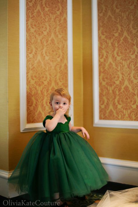 Oh my goodness stop. This flower girl dress is just too perfect for a #Baylor-themed emerald and gold wedding! #SicEm