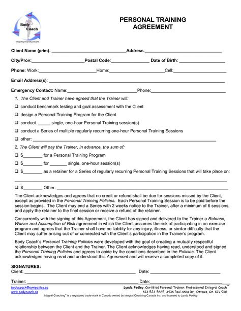 Printable Sample Personal Training Contract Template Form Online - resume personal trainer