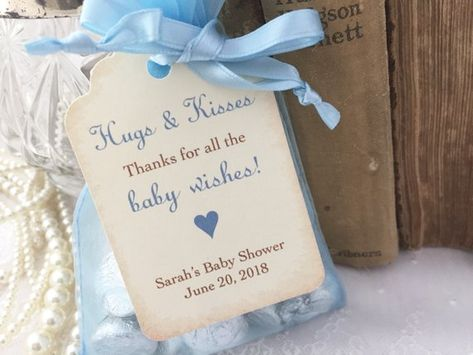 Boy Baby Hugs and Kisses Favor Bags, Boy Baby Shower Kiss Favors, Blue Candy Favor Bags, Set of 10