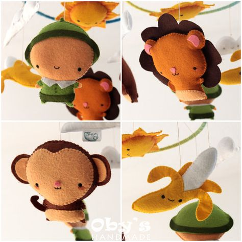 Baby Mobile Savanna Crib Mobile Lion Monkey by Obyshandmade
