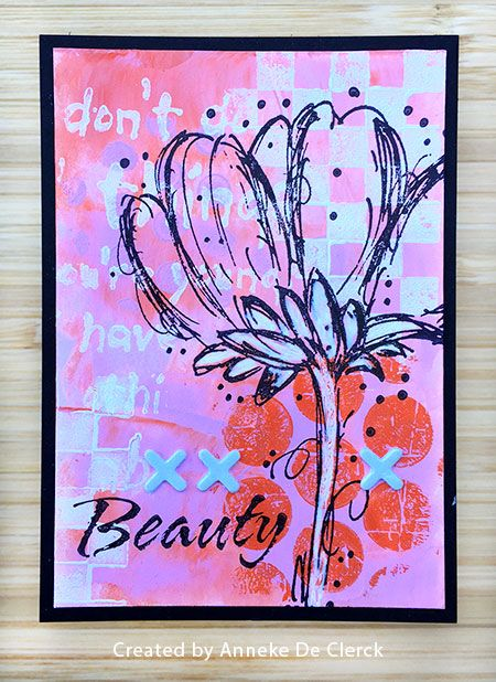 ATC by Anneke De Clerck using Darkroom Door Fine Flowers Rubber Stamp Set, Checkered & Polka Dots Texture Stamps and Wild Things Quote Stamp.