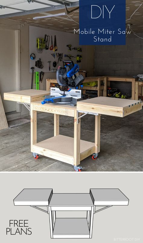 Easiest DIY Mobile Miter Saw Stand Free plans to build a DIY mobile miter saw stand for your workshop. Free up space in the shop and improve workflow with this DIY mobile miter saw stand. Diy Miter Saw Stand, Mitre Saw Stand, Mitre Saw Table, Miter Saw Stand Plans, Woodworking Bench Plans, Woodworking Projects Diy, Woodworking Tools, Woodworking Shop Storage Ideas, Garage Workbench Plans