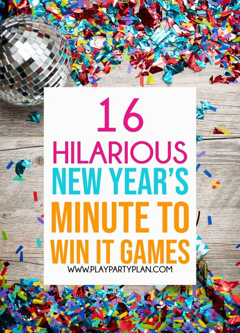 The best New Year's Eve party games for all ages! These New Year's Eve minute to win it games are absolutely hilarious for adults, for kids, or for teens! The perfect New Year's Eve party games to ring in the new year! New Year's Eve Games For Adults, Birthday Games For Adults, Adult Party Games, Birthday Party Games, Nye Party, Birthday Kids, Sleepover Party, Party Games Group, Birthday Eve