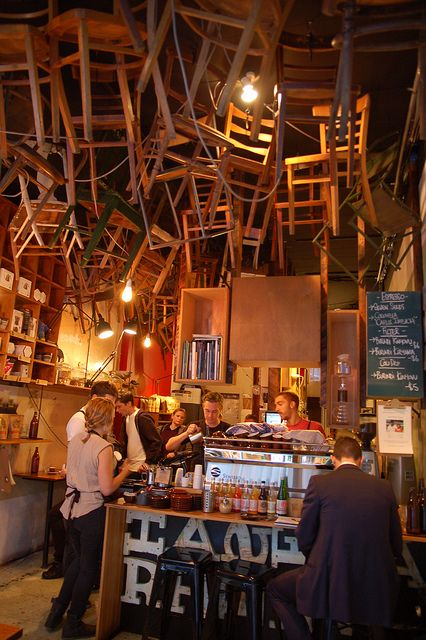 Tips for interior design: Get a household object, turn it upside down, hang it from the ceiling. At Brother Baba Budan in Melbourne