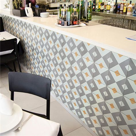 Creative Geometric Patterned Wall Tile Used On Restaurant Kitchen