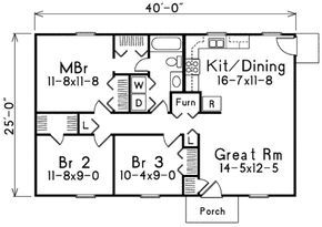 Traditional Style House Plan 3 Beds 1 Baths 1000 Sq Ft Plan 57 221 Ranch Style House Plans Bathroom Floor Plans Small House Plans