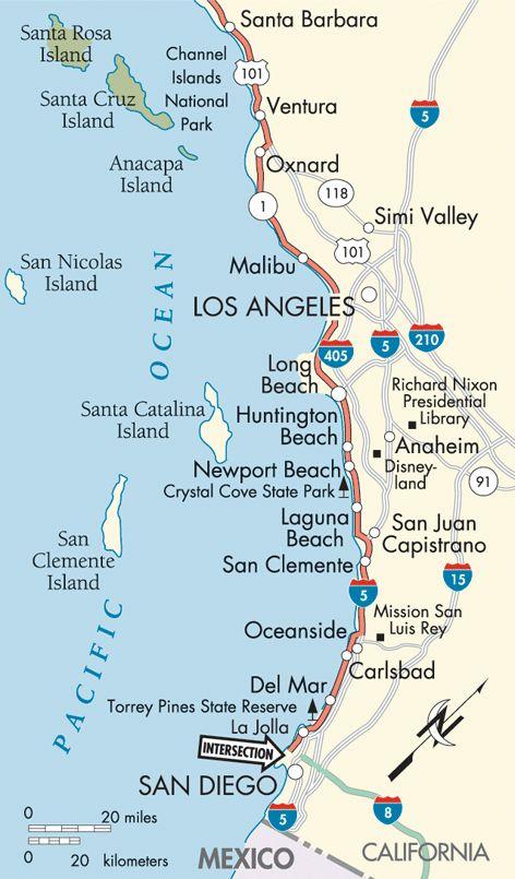 Pacific Coast Santa Barbara To San Diego Map My Style Pinboard