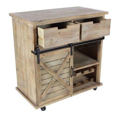 Wood Metal Storage Cabinet 2 Drawers 2 Doors Brown Olivia May