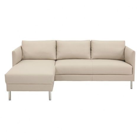 Hyde Cream Leather Left Arm Chaise Sofa Metal Legs Cream Leather Sofa Chaise Sofa Sofa