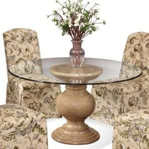 For A Smaller Dining Table Option With A Traditional Appeal, Single Pedestal  Table With A 54 Inch Round Glass Top Table Set With Four Side Chairs.