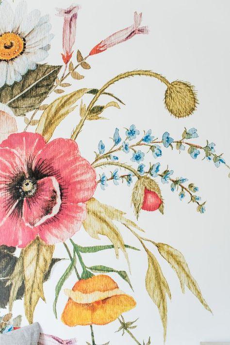 Grande Mazzo Di Fiori.Miele Fiore Carta Da Parati Grande Fiore Murale Modello Di