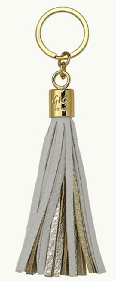 White and Gold Tassel Key Fob
