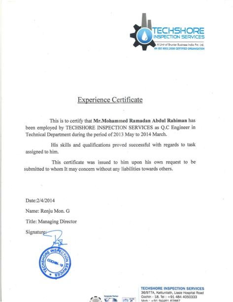 Q C Engineer Experience Certificate From Techshore Work Reference Letter Certificate Format Cv Template Word