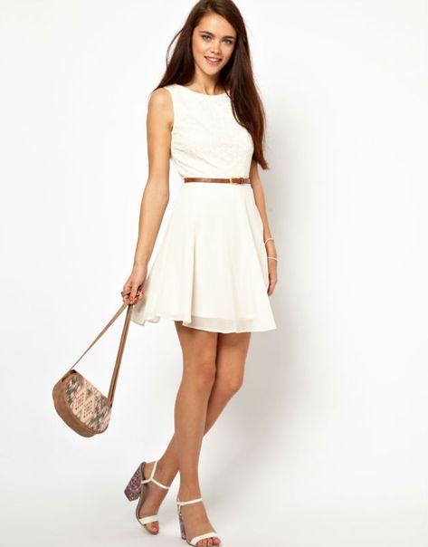Vestido Casual Corto Color Blanco En 2019 Vestidos