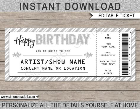 Birthday Gift Concert Ticket Printable Gift Voucher Certificate