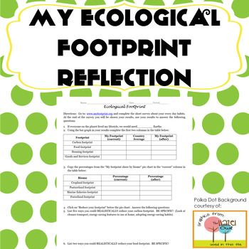 Ecological Footprint Activity Reflection Environment Earth Science Biology Life Science Lessons Earth Science Science Biology