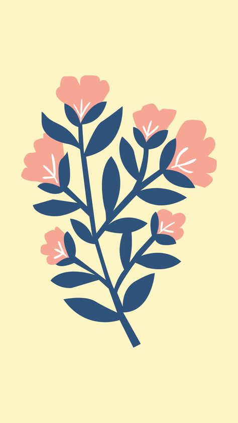 Floral illustration doodle drawing free mobile wallpaper background iPhone android