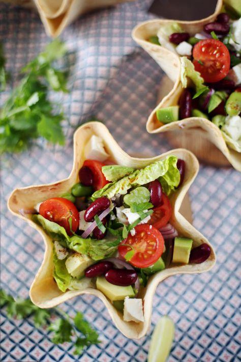 Salade mexicaine et bol tortilla