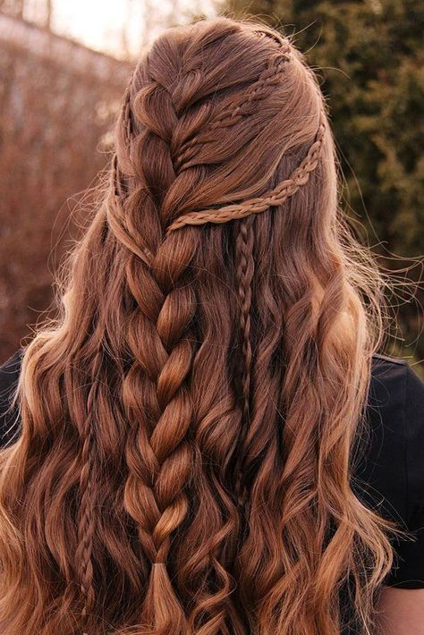 30 Wedding Hairstyles Half Up Half Down With Curls And Braid ❤ wedding hairsty. - - 30 Wedding Hairstyles Half Up Half Down With Curls And Braid ❤ wedding hairstyles half half curls braid brown french braid with thin braids moonlightb. Wedding Hairstyles Half Up Half Down, Braided Hairstyles For Wedding, Wedding Hair Down, Pretty Hairstyles, Wedding Bride, French Braided Hairstyles, Half Up Hairstyles, Long Thick Hair Hairstyles, Vintage Hairstyles