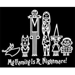 Jack And Sally My Family Is A Nightmare Stick Figure White Vinyl Car Wall  Decal Nightmare Before Christmas Awesome Fun Cool Pumpkin King Jack  Skellington ...