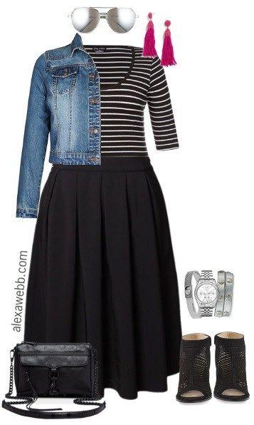 Plus Size Black Midi Skirt - Alexa Webb