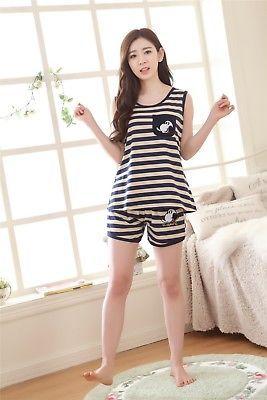 Cartoon Popeye Stripes Women Sleepwear Pajama Set Nightwear Shirt /& Shorts M-XL