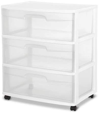 Sterilite 3 Drawer Wide Cart White Plastic Storage Drawers
