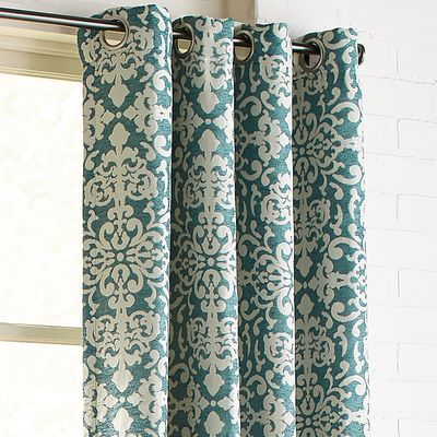 Damask Chenille Grommet Teal 84 Curtain Grommet Curtains Teal