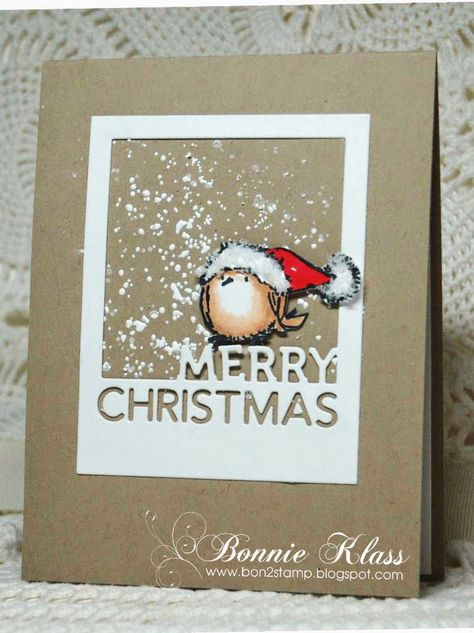 handmade Christmas card from Stamping with Klass .... kraft with white ... luv how she created the white falling snow ... adorable chubby bird in Santa's hat ...