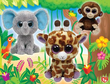 Solve this 100 Piece Ty Beanie Boo Glitter puzzle of Jungle Club by  MasterPieces. f9c98880455e