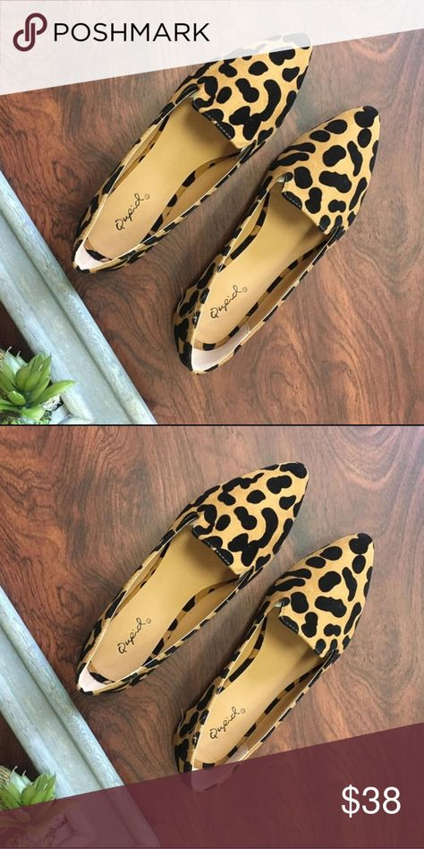 Leopard loafer pointed shoes Brand new in box  Fits true to size  Faux suede fabrication/ man made upper Shoes Flats & Loafers