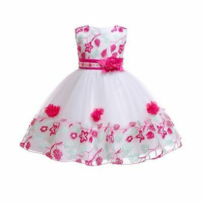 Party flower wedding dress princess kid tutu bridesmaid dresses girl formal baby