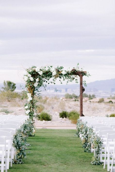 Rustic Wedding Arch Green White Wedding Backdrop Arch Ceremony Elegant Greenery-Filled Desert Wedding (With A Puppy!) - Bridal Musings wedding ceremony Elegant Greenery-Filled Desert Wedding (With A Puppy! Wedding Arch Greenery, White Wedding Arch, Wedding Arch Rustic, Wedding Ceremony Arch, Wedding Altars, Outdoor Wedding Decorations, Floral Wedding, Wedding Arch With Flowers, Outdoor Wedding Arches