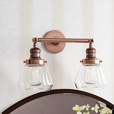 Brayden Studio Dupree 2 Light Dimmable Vanity Light Wayfair Vanity Lighting Copper Bathroom Fixtures Copper Lighting