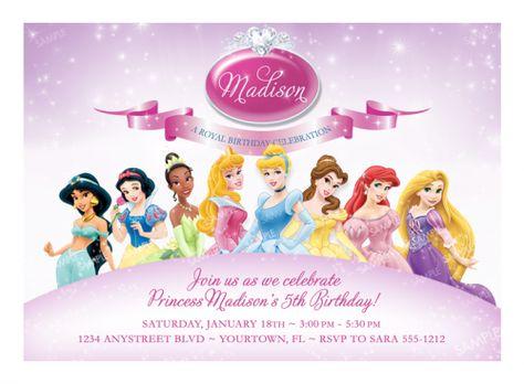 Disney Princess Invitation For Birthday Party Printable Digital Princess Party Invitations Princess Birthday Invitations Princess Birthday Party Invitations